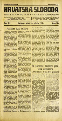 Hrvatska sloboda: 1924. • 21
