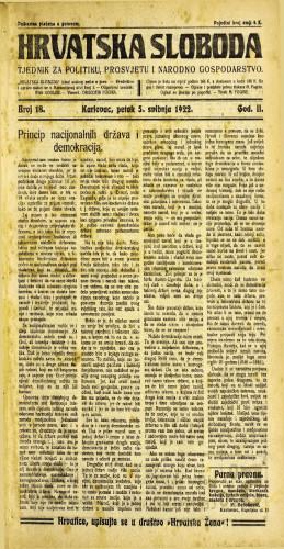 Hrvatska sloboda: 1922 • 18