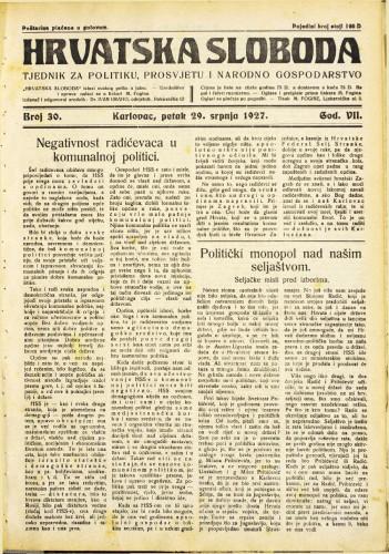 Hrvatska sloboda: 1927. • 30