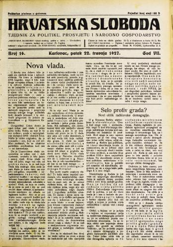 Hrvatska sloboda: 1927. • 16