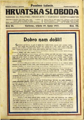 Hrvatska sloboda: 1927. • 25a