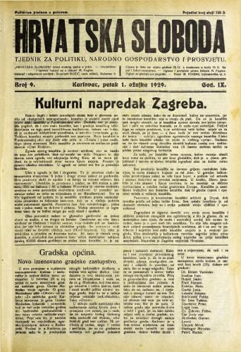 Hrvatska sloboda: 1929. • 9