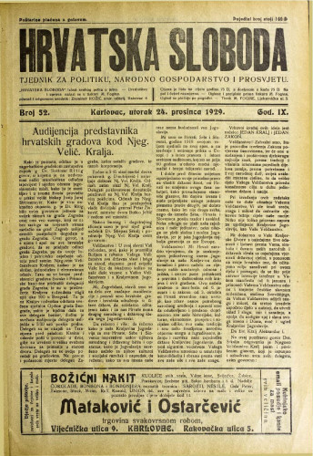 Hrvatska sloboda: 1929. • 52