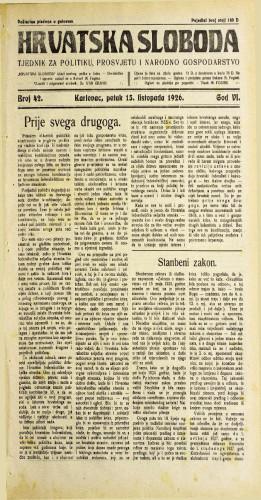 Hrvatska sloboda: 1926. • 42