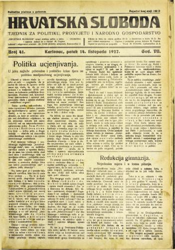 Hrvatska sloboda: 1927. • 41