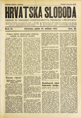 Hrvatska sloboda: 1931. • 19