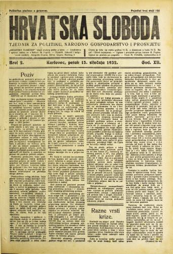 Hrvatska sloboda: 1932. • 2