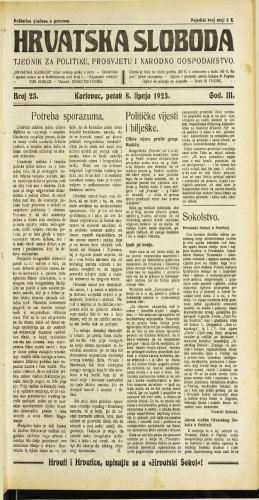 Hrvatska sloboda: 1923 • 23