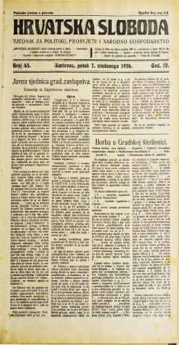 Hrvatska sloboda: 1924. • 45