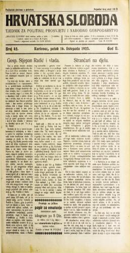 Hrvatska sloboda: 1925. • 42