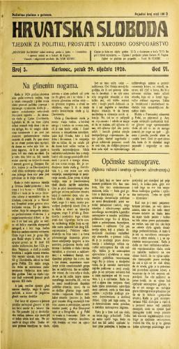 Hrvatska sloboda: 1926. • 5