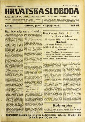 Hrvatska sloboda: 1927. • 2
