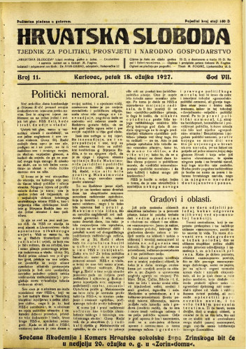 Hrvatska sloboda: 1927. • 11