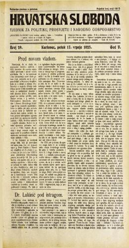 Hrvatska sloboda: 1925. • 29