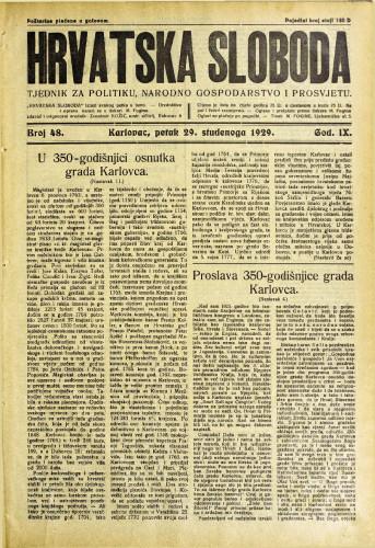 Hrvatska sloboda: 1929. • 48