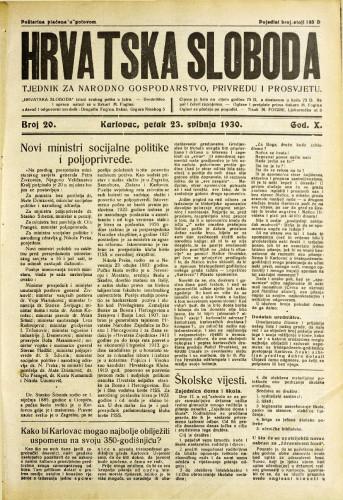 Hrvatska sloboda: 1930. • 20
