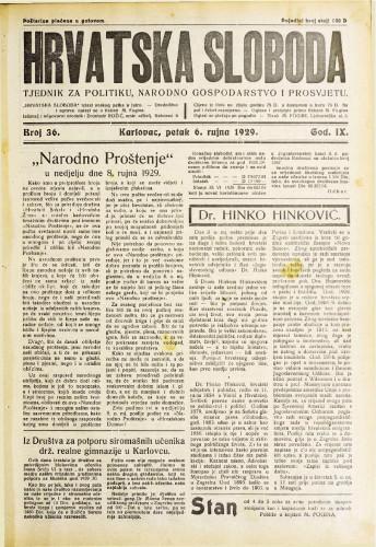 Hrvatska sloboda: 1929. • 36