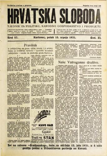 Hrvatska sloboda: 1931. • 27