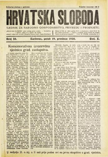 Hrvatska sloboda: 1930. • 50