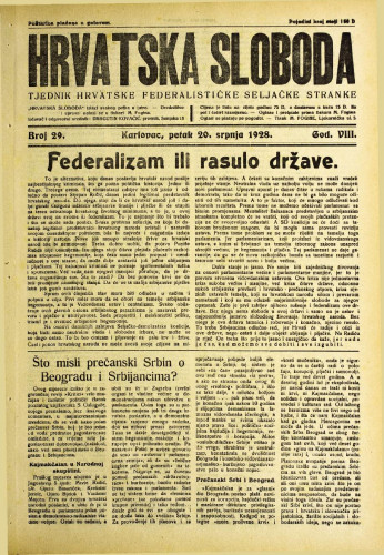 Hrvatska sloboda: 1928. • 29