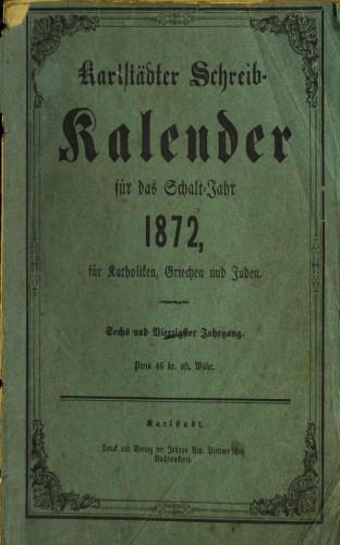 Karlstädter Schreib - Kalender – 1872.