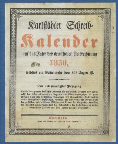 Karlstädter Schreib - Kalender – 1850.