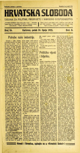 Hrvatska sloboda: 1922 • 26