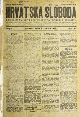 Hrvatska sloboda: 1931. • 1
