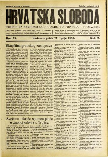 Hrvatska sloboda: 1930. • 25