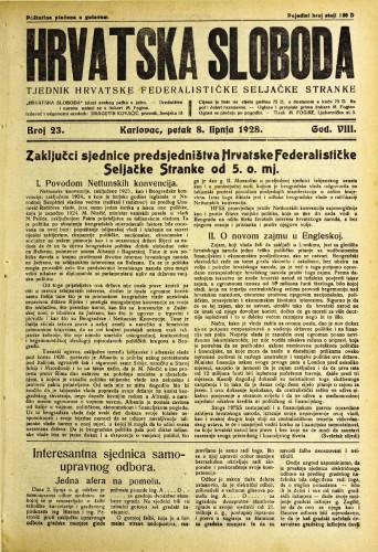 Hrvatska sloboda: 1928. • 23