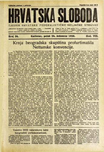 Hrvatska sloboda: 1928. • 34