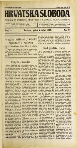Hrvatska sloboda: 1925. • 36