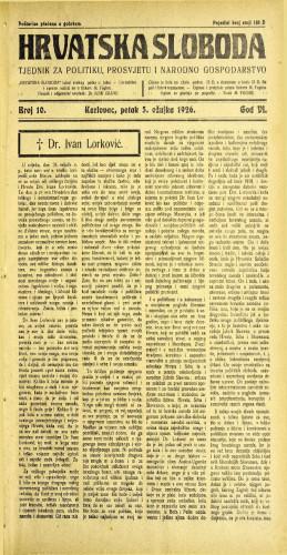 Hrvatska sloboda: 1926. • 10