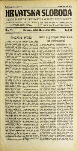 Hrvatska sloboda: 1926. • 52