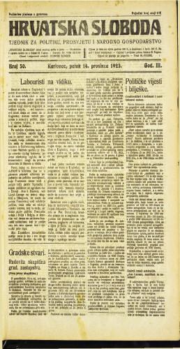 Hrvatska sloboda: 1923 • 50