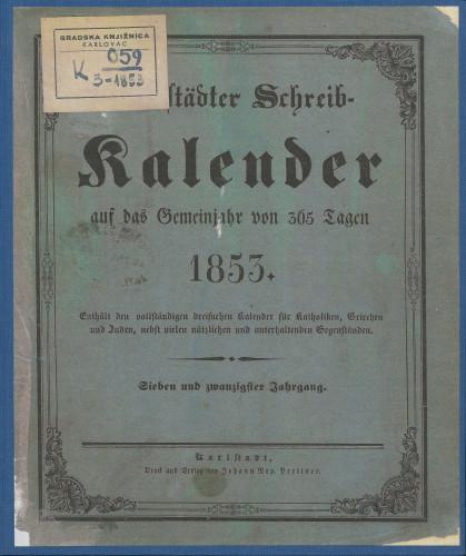 Karlstädter Schreib - Kalender – 1853.