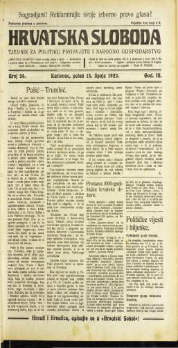Hrvatska sloboda: 1923 • 24
