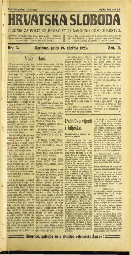 Hrvatska sloboda: 1923 • 3
