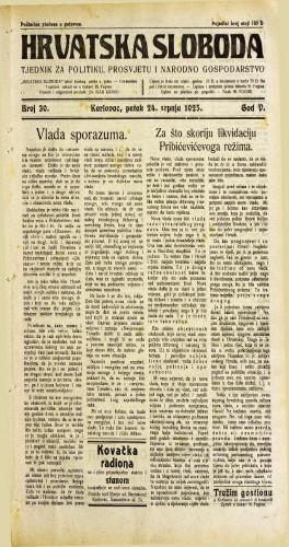 Hrvatska sloboda: 1925. • 30