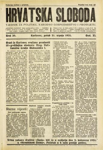 Hrvatska sloboda: 1931. • 30