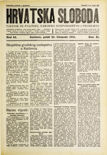 Hrvatska sloboda: 1931. • 42
