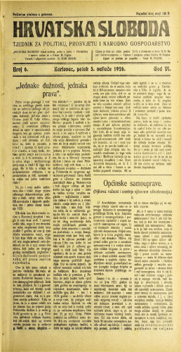Hrvatska sloboda: 1926. • 6
