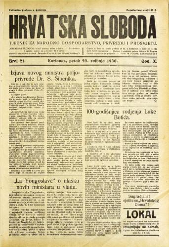 Hrvatska sloboda: 1930. • 21