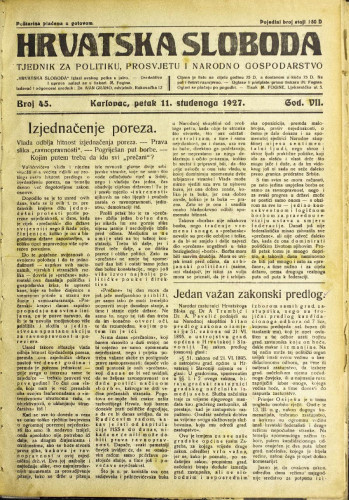 Hrvatska sloboda: 1927. • 45