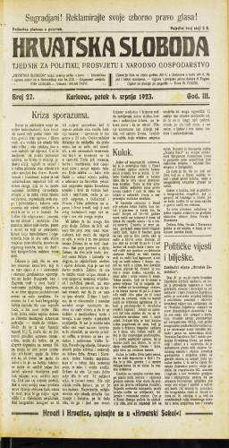 Hrvatska sloboda: 1923 • 27