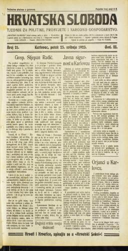 Hrvatska sloboda: 1923 • 21