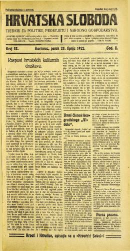 Hrvatska sloboda: 1922 • 25