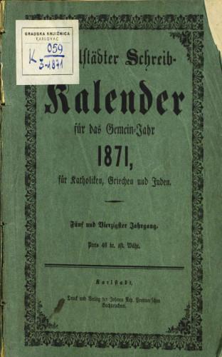 Karlstädter Schreib - Kalender – 1871.