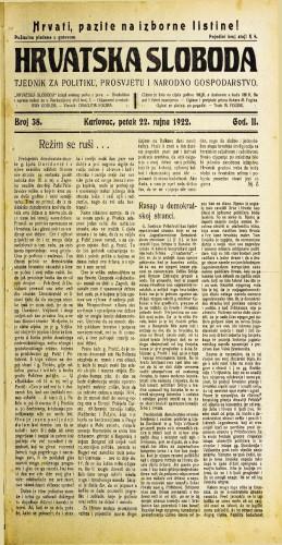 Hrvatska sloboda: 1922 • 38