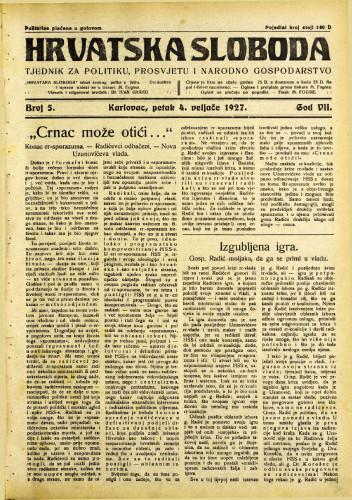 Hrvatska sloboda: 1927. • 5